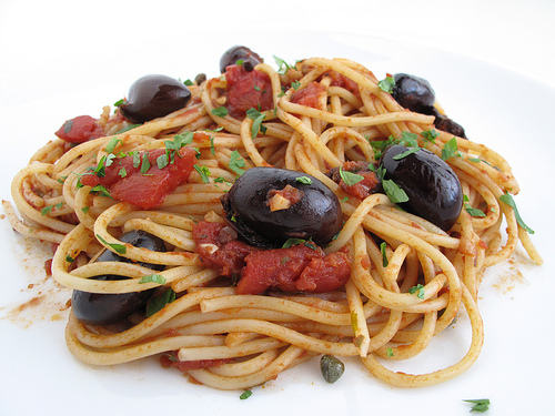 Spaghetti with Tomato, Black Olives, Anchovies, Capers or Puttanesca