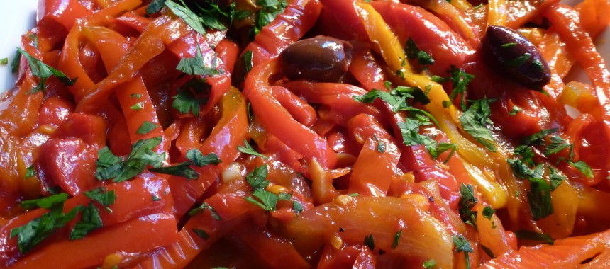 Grand Mix of Yellow and Red Peppers or Peperonata