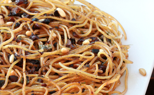 Pasta Omelette with Anchovies, Olives, Raisins or Frittata di Zio Beppe