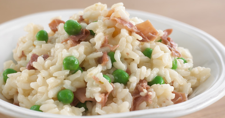 pea and parma ham risotto