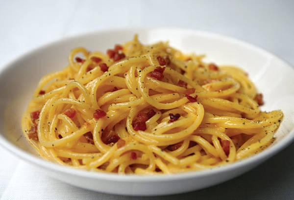 spaghetti carbonara with guanciale or pancetta. Black Bedroom Furniture Sets. Home Design Ideas